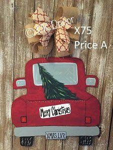 X75 - Christmas Truck Door Hanger - Tree Door Hanger - Christmas Door hanger