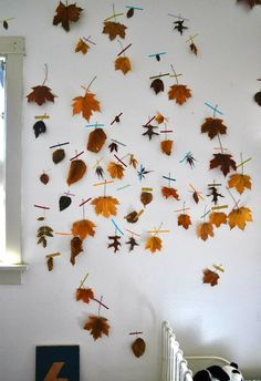 Elsie Marley: Category 'craft': Leaves, flattened, taped to wall   Love!