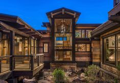 This majestic mountainside retreat was designed by Sandbox Studio located in the Northstar community of Truckee, California. Reclaimed Wood Floors, Floating Staircase, Concrete Steps, Mountain Homes, Mountain Modern, Lakefront Homes, Ski Chalet, Exterior Siding, Water Features