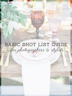 Basic Shot List guide for photographers and stylists