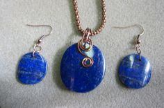 Lapis Lazuli Pendant & Earring Set Antique by watercolorsNmore