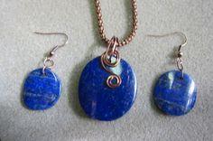 Lapis Lazuli Pendant & Earring Set Antique by watercolorsNmore