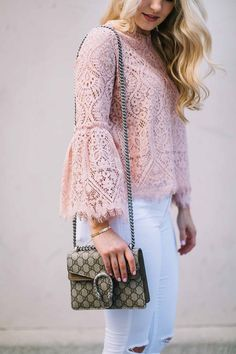 Blush lace top with