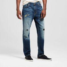 Men's Athletic Fit Dark Destroy Wash Jeans