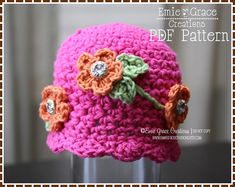 Flower Hat Crochet Pattern  MIRIAM  212 by EmieGraceCreations