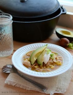 Quick, Easy, and Healthy White Chicken Enchilada Soup- can be a easily made in the crock pot :)