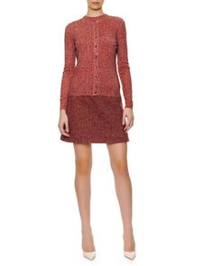 Chevron Wool Button-Down Cardigan, 1/2-Sleeve Chevron Wool Sweater & Chevron Wool A-line Skirt by Dolce & Gabbana at Neiman Marcus.