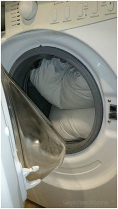 How to Wash Pillows in a Front Load Washing Machine bleach, laundry powder, dishwasher powder, borax; wash on hot can use vinegar instead of bleach