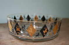 Mid century clear glass bowls (set of 3) with black and gold diamonds & zodiac signs - very cool set!