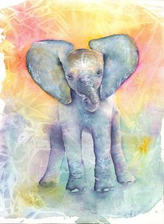 Baby Elephant Art Print/ Elephant Art/ Elephant watercolor
