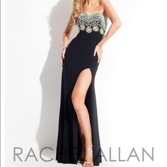 """Rachael Allan Prom Dress (comes w/optional straps) This prom dress is beyond comfortable to wear and was only worn once. Its its a classy black dress completed with teal and gold beading at the top. It's has been hung in my closet in a dress cover to eliminate any dust or dirt to land on it. It is simple yet elegant and perfect for any wedding. It is a size 6, but they were miner. I am 5'2"""" and it can to the top of my feet and there was a trail in the back. I paid $470 for it and I am…"""
