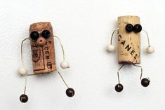 Cork character magnets craft you can make - these will look so cute on your fridge!