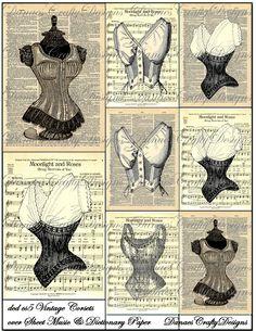 Vintage corsets over sheet music Decoupage Vintage, Vintage Crafts, Vintage Paper, Vintage Sewing, Vintage Corset, Vintage Tags, Vintage Labels, Vintage Ephemera, Vintage Posters