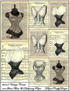 Vintage corsets over sheet music