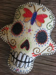 Felt Day of the Dead Embroidered Butterfly Sugar Skull