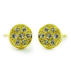 Petite Zahia Studs 0.18cts of Diamonds and Recycled 14K Yellow Gold.
