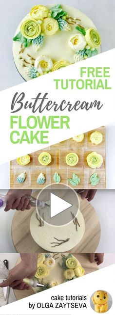 HOT CAKE TRENDS How to make Ranunculus Buttercream flower wreath cake - Cake decorating tutorial by Olga Zaytseva. Learn how to pipe Ranunculus and Roses and assemble a buttercream flower wreath cake. #cakedecoratingtips