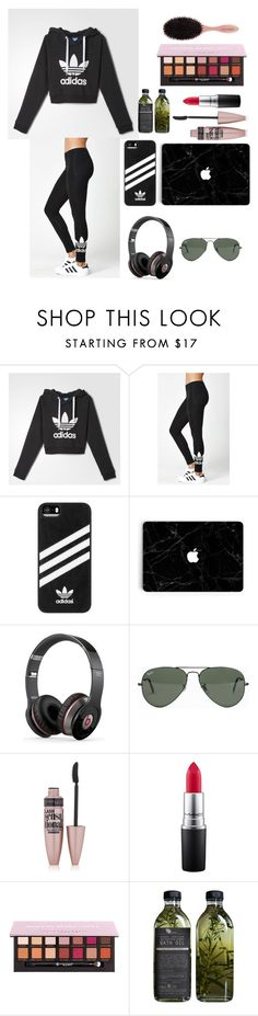 """""""ADIDAS"""" by clairebear89 ❤ liked on Polyvore featuring adidas, Beats by Dr. Dre, Ray-Ban, Maybelline, MAC Cosmetics, Anastasia Beverly Hills and AMBRE"""