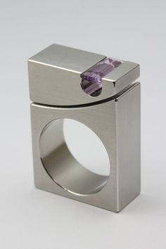 MICHAEL BERGER KINETIC RING  Kinetic Ring RK 022-4R. Stainless steel, amethyst  Size 8