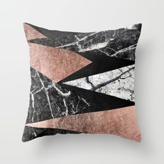 This elegant and modern black and white marble, faux printed rose gold, and…
