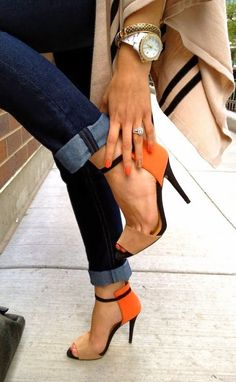 Pop of Orange & Cuffed Denim ♥