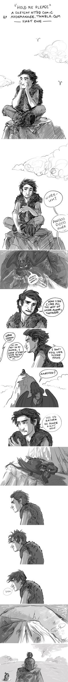 Hold Me Please - a sketch-y HTTYD comic, part one by axondrive on deviantART