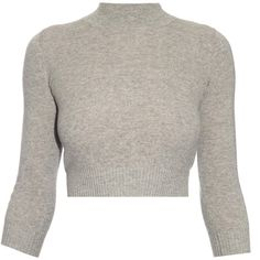 Alexander McQueen Open-back cashmere sweater ($645) ❤ liked on Polyvore featuring tops, sweaters, open back crop top, slim fit sweater, brown sweater, open back sweater and evening sweaters