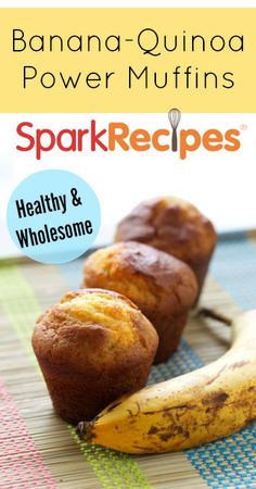 Quinoa-Banana Muffins Recipe. The added protein and flavor of quinoa make these banana muffins a real nutritional powerhouse.  | via @SparkRecipes