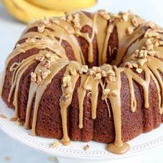 Banana Bundt Cake with Brown Sugar Glaze - Thick and soft banana cake with a tender buttery crumb, topped with a decadent Brown Sugar Glaze. The BEST Banana Cake EVER! Brown Sugar Frosting, Brown Sugar Glaze, Brown Butter, Banana Bundt Cake, Chocolate Bundt Cake, Banana Dessert Recipes, Baking Desserts, Cake Baking, Glaze For Cake