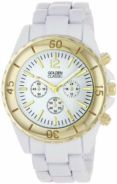 """Golden Classic Women's 2287-gold/white """"Nautical Notion"""" Classic Tachymeter Marked Bezel Watch Golden Classic. $24.75. Highest Standard Quartz movement. White dial with three non-working chronograph sub dials; Contrasting hour and minute markers. White metal 3 link band; Fold over clasp with double push button safety. Water-resistant to 99 feet (30 M) - not recommended to take into deep water or shower. Faux tachymeter markings on contrasting gold bezel"""