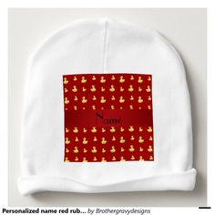 Personalized name red rubber duck pattern baby beanie