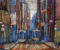 Art by Stephen Shaw trams - Irish Artist Info Graffiti I, Irish Landscape, Irish Art, Hand Illustration, Urban Art, Lovers Art, New Art, Fine Art Prints, Original Paintings