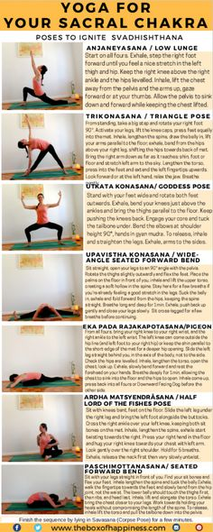 A yoga sequence for your sacral chakra. This is the second post in a series of yoga sequences for the chakras. The sacral chakra, or Svadhishthana is. Yoga Meditation, Yoga Restaurativa, Yoga Pilates, Yoga Flow, Pilates Reformer, Healing Meditation, Meditation Benefits, Chakra Yoga, Sacral Chakra Healing