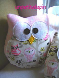 Fabric Owl  PlushPink Polk a Dot  Owl Pillow