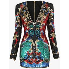 Dresses and Skirts | Women's Clothing | Balmain ($4,740) ❤ liked on Polyvore featuring dresses, vestidos, balmain, embroidered cocktail dress, cocktail party dress, holiday dresses, night out dresses and evening party dresses