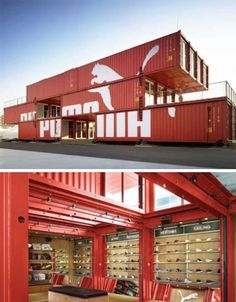 The PUMA container store isn't just portable and green, it's quite stunning with its cantilevered deck and interior combination of sleek wood and industrial steel. Container Architecture, Retail Architecture, Container Buildings, Sustainable Architecture, Architecture Design, Container Shop, Container House Design, Shipping Container Homes, Shipping Containers