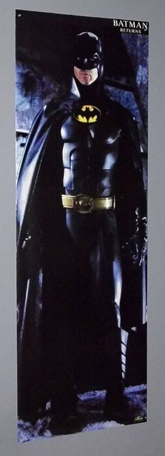 Giant rare vintage original 70 by 25 inch Batman Returns Michael Keaton 1990's Dark Knight movie door poster by DC Comics. SEE 1000's MORE RARE VINTAGE MARVEL AND DC COMICS SUPERHERO POSTERS AND COMIC BOOK ART PAGES FOR SALE AT SUPERVATOR.COM