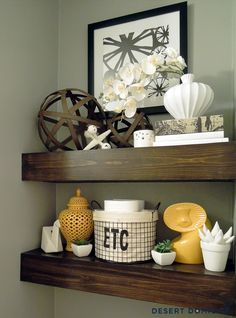 Painted Powder Room | Desert Domicile - dont need all the items... but love the chunky shelves behind the toliet