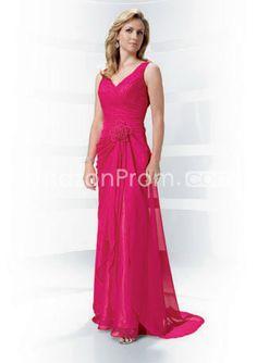 Graceful Flowers Pick-ups A-Line Floor-Length V-Neck Mother of the Bride Dress
