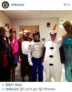 Bruins went to a childrens hospital dressed as the characters from Frozen!! <3 <3 just another reason to Love Hockey players!!! :)