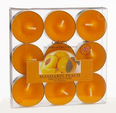 orange tea lights, an inexpensive way of adding an accent of colour to your tables.  Just place in clear tealight holders.  £4.99 from www.fuschiadesigns.co.uk.
