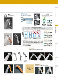 Top row on left - Circular head shower hand held TOTO株式会社   水栓金具カタログ(住宅用)   カタログビュー