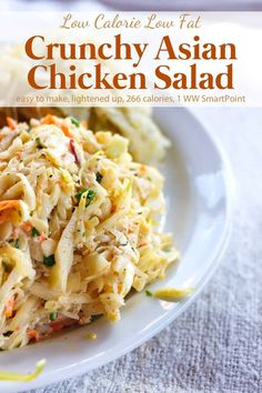 For lunch or dinner-A cool and crunchy no cook salad, this Weight Watchers Crunchy Asian Salad with Chicken has all the flavors of those popular restaurant Chinese Chicken Salads with a lot fewer calories and less fat! Weight Watchers Salat, Weight Watchers Lunches, Weight Watchers Meal Plans, Asian Chicken Salads, Chicken Salad Recipes, Chinese Chicken, Salad Chicken, Weight Watchers Chicken Salad Recipe, Chicken Slices