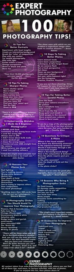 Welcome to ExpertPhotography's top 100 photography tips, picked from the best tutorials of and brought together in one place, for your ease. T - 100 Photography Tips For Seriously Better Pictures [Infographic] Photography Cheat Sheets, Photography Jobs, Photography Lessons, Photoshop Photography, Camera Photography, Photography Business, Photography Tutorials, Digital Photography, Photography Basics