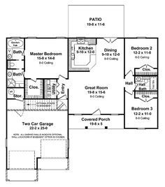 Ranch Style House Plan 3 Beds 2 Baths 1400 Sq Ft Plan 21 401 In 2020 Ranch House Floor Plans House Plans Ranch Style House Plans