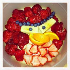 Angry bird fruit snack.
