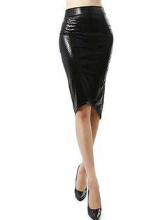 d8fd90c5df2d1 Exotic Snake Pattern Faux Leather Midi Pencil Fashion Skirt for Women  (MEDIUM