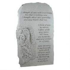 I Thought of You with Love: Angel Cast Stone Memorial Garden Marker $225.00