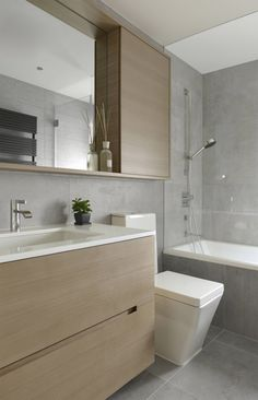 Making minimalism pop in a Hong Kong apartment Condo Bathroom, Bathroom Toilets, Bathroom Renos, Bathroom Green, Bathroom Kids, Bathroom Flooring, Washroom Tiles, Small Bathrooms, Modern Bathroom Design