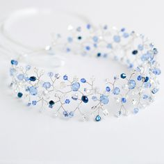 """Свадебный венок из бисера для прически """"Сине-Голубой"""" - свадебное украшение"""